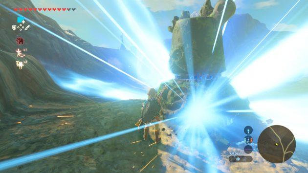 ハイラル城下町跡を出てもガーディアンを倒すリンク