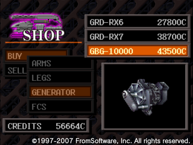 アーマードコア、ジェネレーター『GBG-10000』