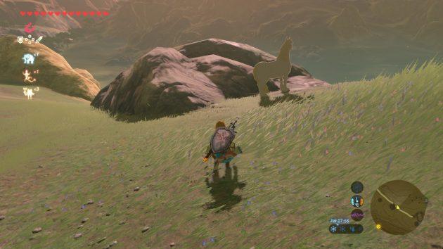 白馬に近づくリンク