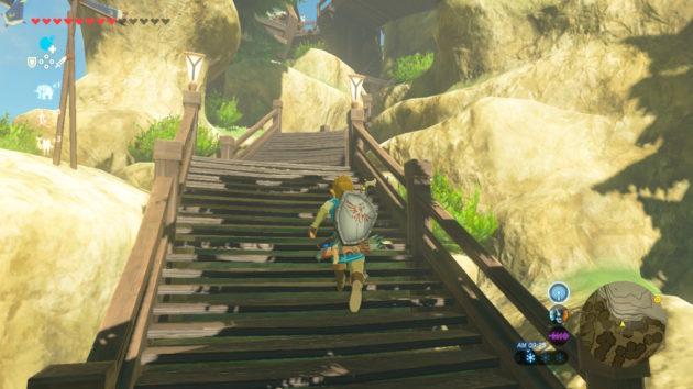 リトの村の階段を駆け上がるリンク