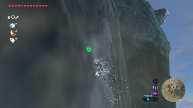 3段階強化のゾーラ装備で滝登り