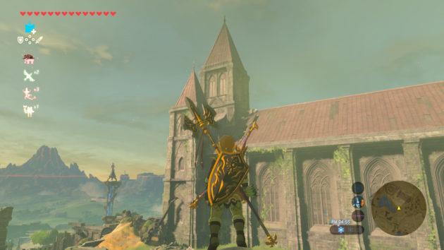 ハイラル王と出会った時の神殿跡の屋根