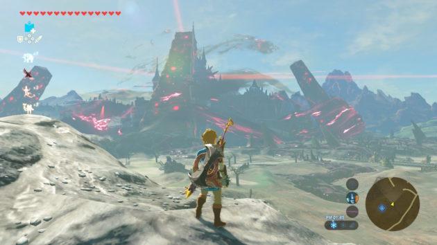 ハイラル城を見据えるリンク