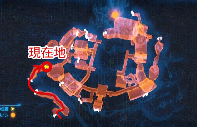 ハイラル城、西坑道のトロッコ終着点(マップ)