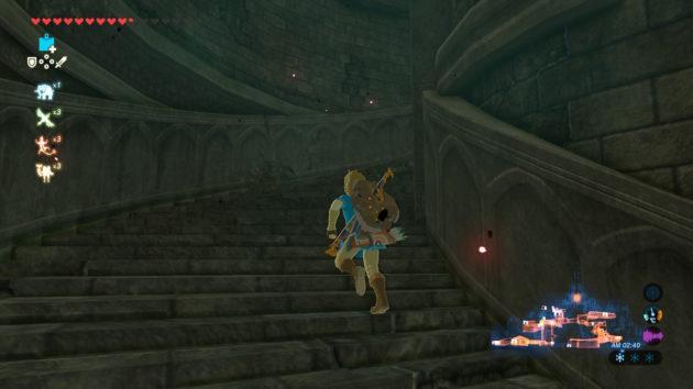 ハイラル城の地上へ向けてダッシュ
