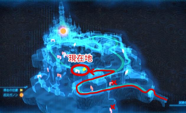 ハイラル城のマップ、ゼルダ姫の部屋の近く
