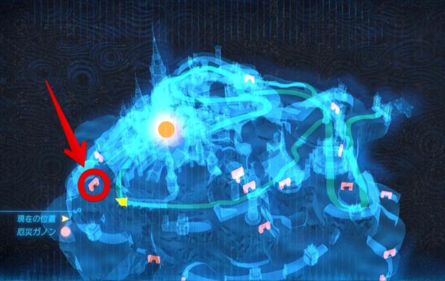 ハイラル城北側の室内への扉(マップ)