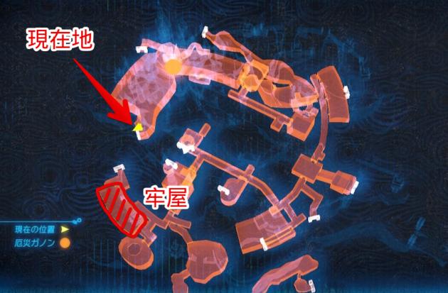 船着き場の出口と牢屋(マップ)