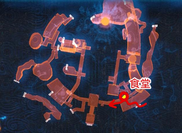 ハイラル城の食堂からのルート(マップ)