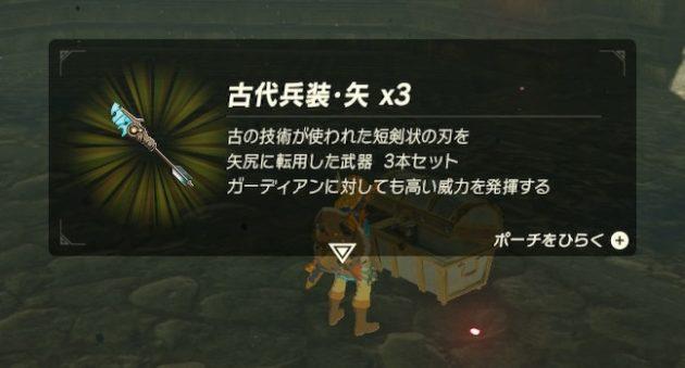 二の丸の宝箱の中身は『古代兵装・矢』