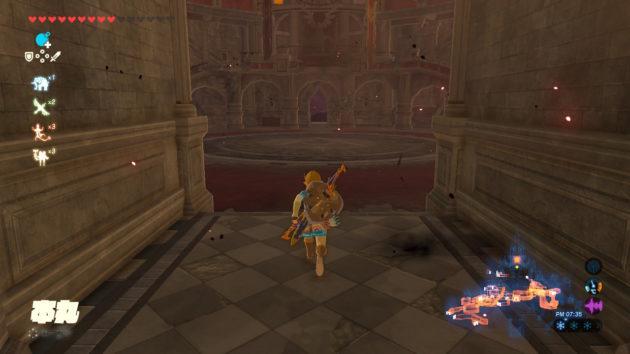 ハイラル城の本丸に進むリンク