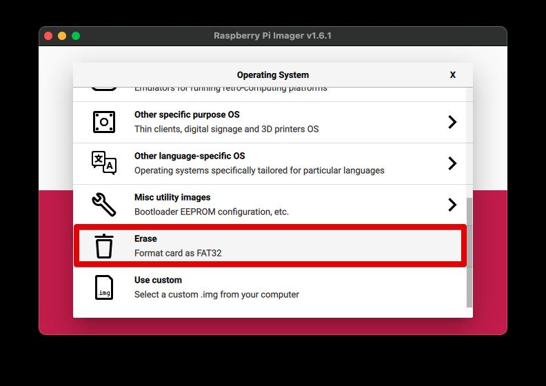 Raspberry Pi Imager で MicroSD に書き込み 4