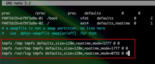 nanoテキストエディタで一時ファイルとログをRAMに出力させるよう設定
