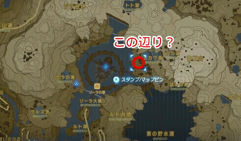 ミカウ湖周辺のマップ